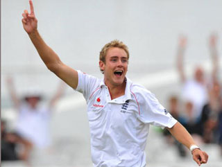 Broad smile. Staurt Broad celebrates a wicket and will have to take plenty if England are to defend te Ashes this winter