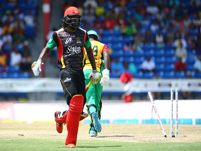 Chris Gayle escapes a run out. He is the undoubted star of the CPL