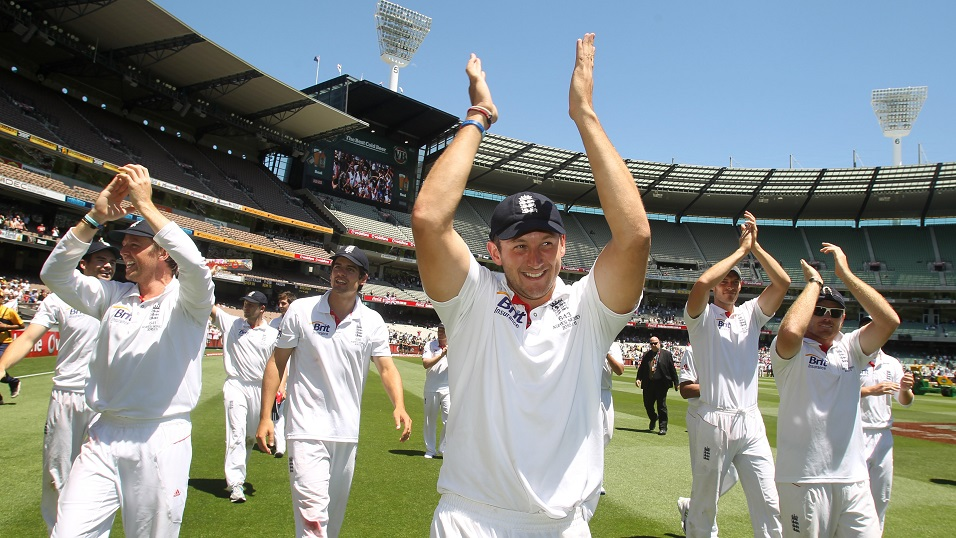 Golden memories - Tim Bresnan celebrating England's Ashes triumph in 2010