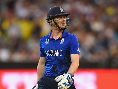 England captain Eoin Morgan after finding his latest way of getting out