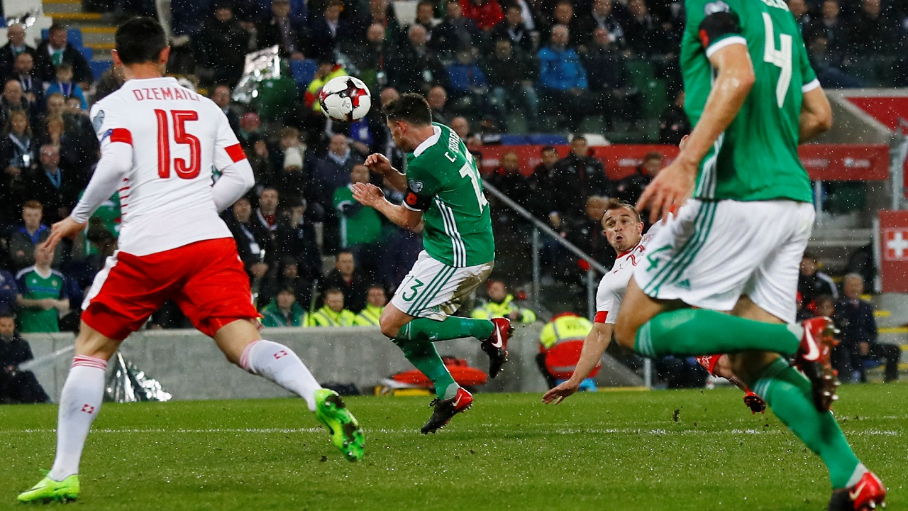 Corry Evans blocks the ball with his back. Result - penalty
