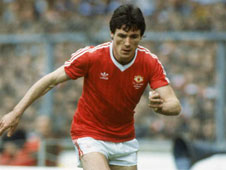 Frank Stapleton in his Manchester United days. Adam Tong of FC United has a long way to go to reach the dizzy heights of top-flight English football and captaining your country but there's something about him that is reminiscent of the Irish ace.