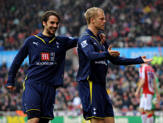 Saturday's goalscorers Eidur Gudjohnsen and Niko Kranjcar celebrate a win taht was far more important than just getting three points