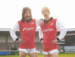 Player-manager Ashley Westwood and midfielder David Bridges model the one-off 1970s kit