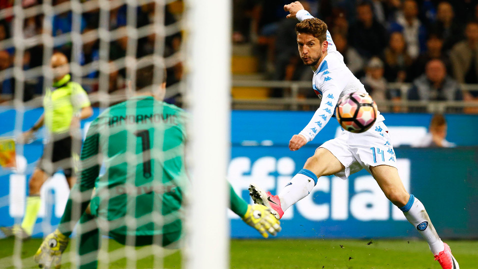 Dries Mertens and Samir Handanovic do battle once again at the Stadio San Paolo on Saturday