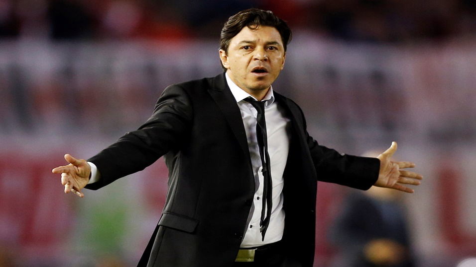 River's Marcelo Gallardo is under pressure
