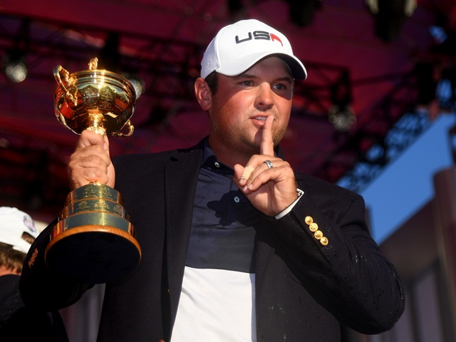 America's talisman, Patrick Reed, with the Samuel Ryder trophy