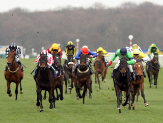 Hearts of Fire (green) comes home to win the 2009 running of the Brocklesby Stakes