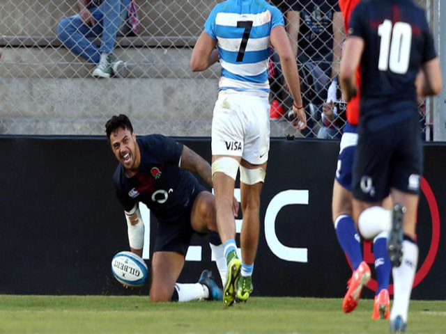 Denny Solomona celebrates his late match-winning try for England last weekend