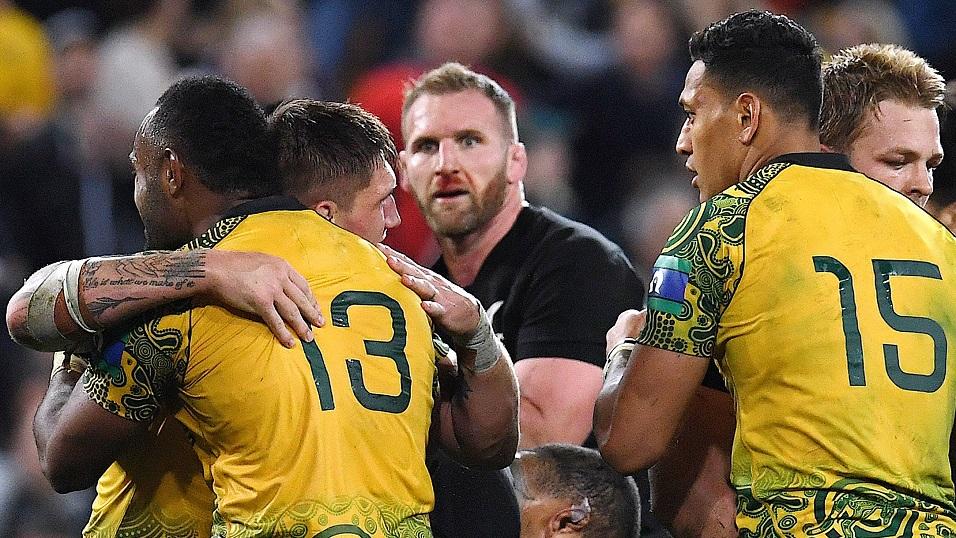 Bloodied nose - All Blacks captain Kieran Read watches Australia celebrate their win