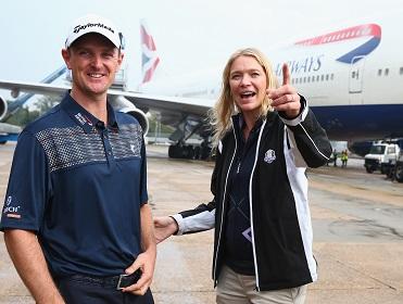 Jodie Kidd with golfer Justin Rose