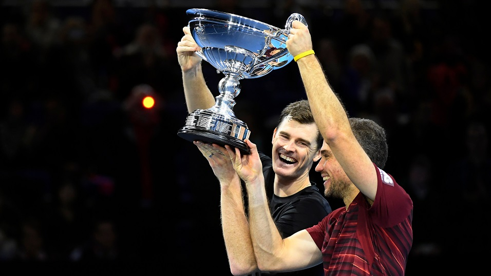 Number One - Jamie Murray and Bruno Soares celebrate at the O2 last year